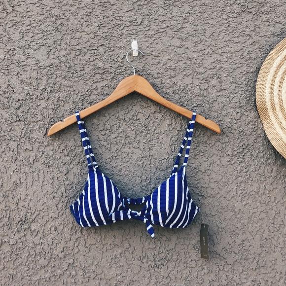 2ac47e0892e52 J. CREW Tie-front Bikini Top in Puckered Stripe